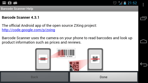 barcode scanner info screen