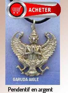 Aigle dieu Garuda pendentif argent bijoux signification symbole