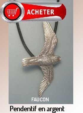 faucon pendentif argent bijoux signification symbole