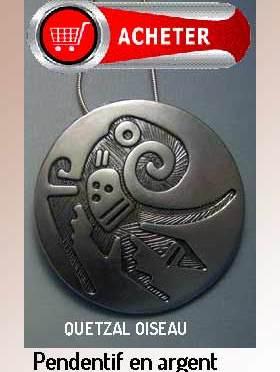 quetzal pendentif amulet aztèque argent bijoux signification symbole