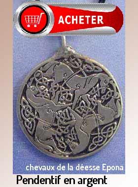 trois chevaux déesse Epone pendentif argent signification symbole