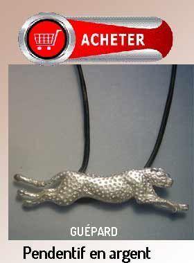 guépard pendentif argent bijoux symbole signification