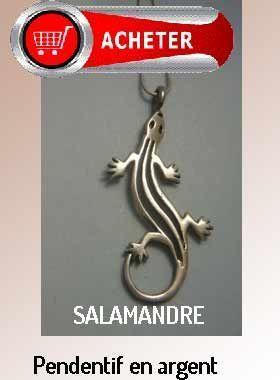 salamandre pendentif argent bijoux signification symbole