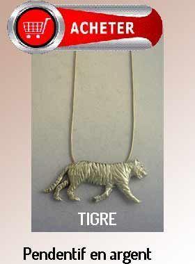 tigre pendentif argent bijoux signification symbole