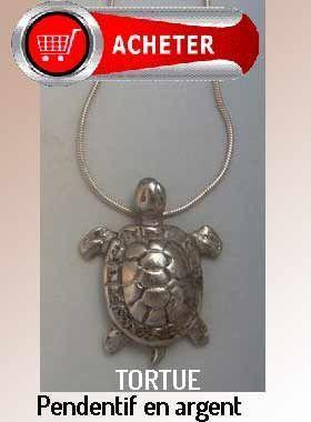 tortue pedentif argent bijoux signification symbole
