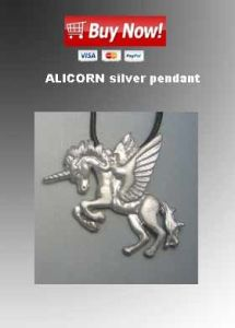 alicorn silver pendant necklace