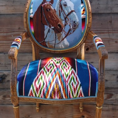 Blue 2 Horse Head Serape