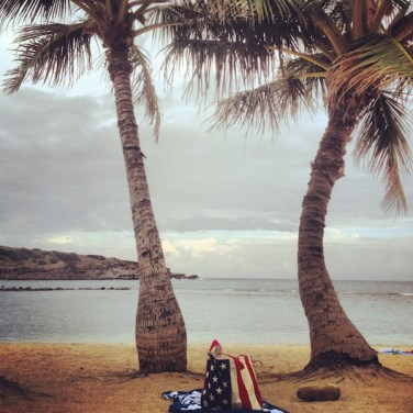 American Flag Tote On The Beach