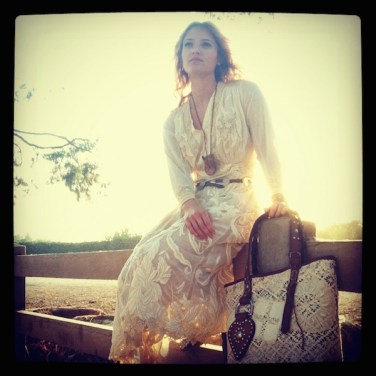 Elenor & Vintage Lace Tote On Fence