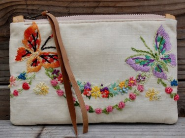 Vintage Butterfly Embroidery Pouch