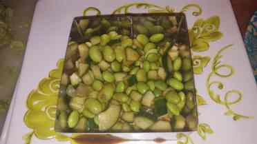 First layer: edamame, cucumber and soy vinaigrette.
