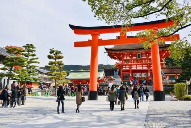 Torri gate and pagoda in Kyoto