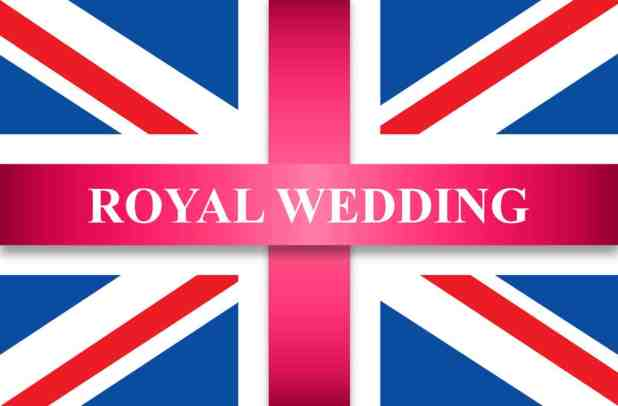 Royal wedding on great britain flag with pink ribbon