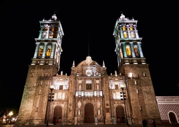 Front view of Cathedral of puebla at night, Puebla de Zaragoza, Mexico