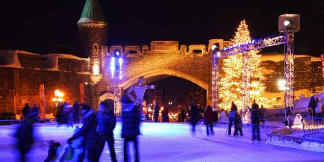 Night ice skating scene from Place d'Youville.