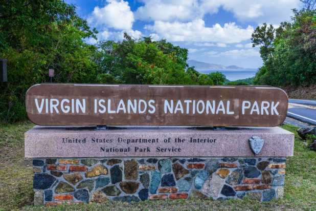 Entrance Sign in Virgin Islands National Park on the island of St. John