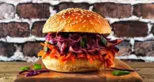 meatless burger with red cabbage