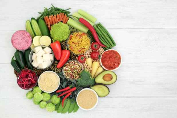 Vegan food for healthy diet with foods high in protein