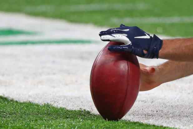 The ball is placed waiing for the kicker