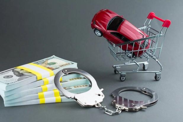Red car money handcuffs.