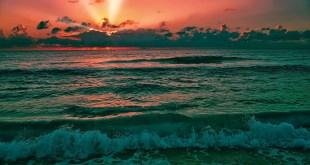 Beautiful sunrise over the Caribbean Sea