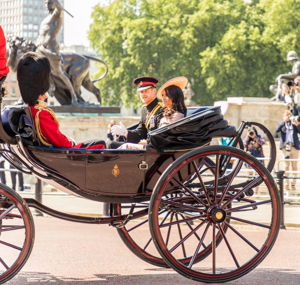A view of the royal carriage carrying Prince Harry and the new Duchess of Sussex,