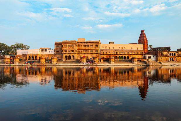 Best Time To Visit India Krishna Temple at the Keshi Ghat on Yamuna river in Vrindavan near Mathura city in Uttar Pradesh state of India