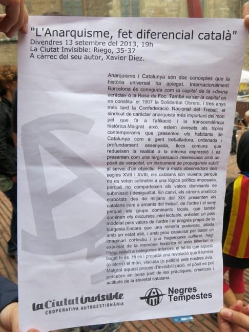 L'anarquisme, fet diferencial català. Text present a la diada 11/9/2013. Fossar de les moreres. La Ciutat invisible / Negres Tempestes.