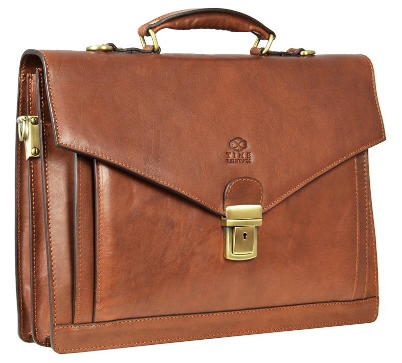Brown Genuine Leather Briefcase The Magus by Time Resistance
