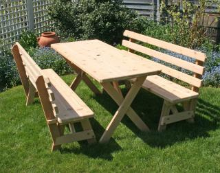 Cedar 27 in Wide 4 ft Cross Legged Picnic Table with 2 4 ft Backed Benches