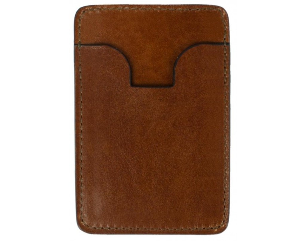 BROWN LEATHER CREDIT CARD HOLDER BUSINESS CARD CASE - 1984