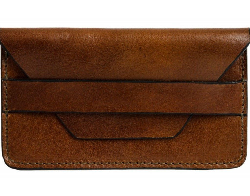 BROWN LEATHER CREDIT CARD HOLDER BUSINESS CARD CASE - LUCKY JIM