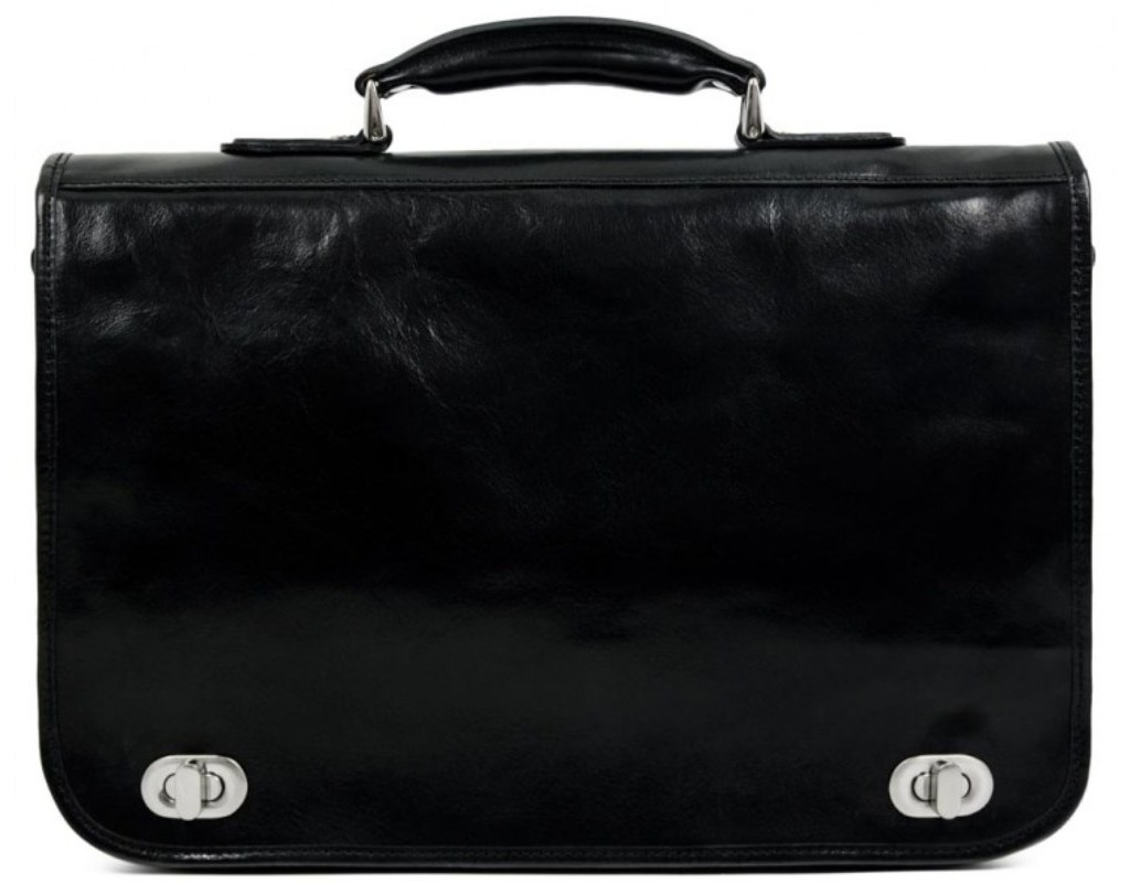 BLACK CALFSKIN LEATHER MEN'S BRIEFCASE - ILLUSIONS