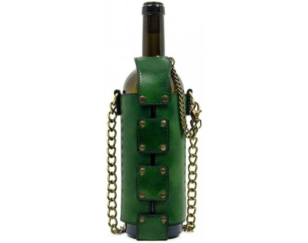 GREEN LEATHER WINE TOTE - SAVING GRAPES
