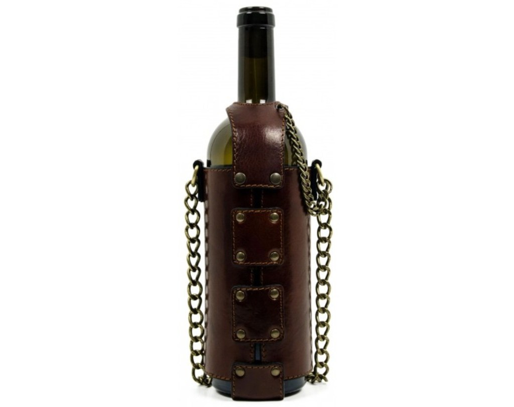 BROWN LEATHER WINE TOTE - SAVING GRAPES