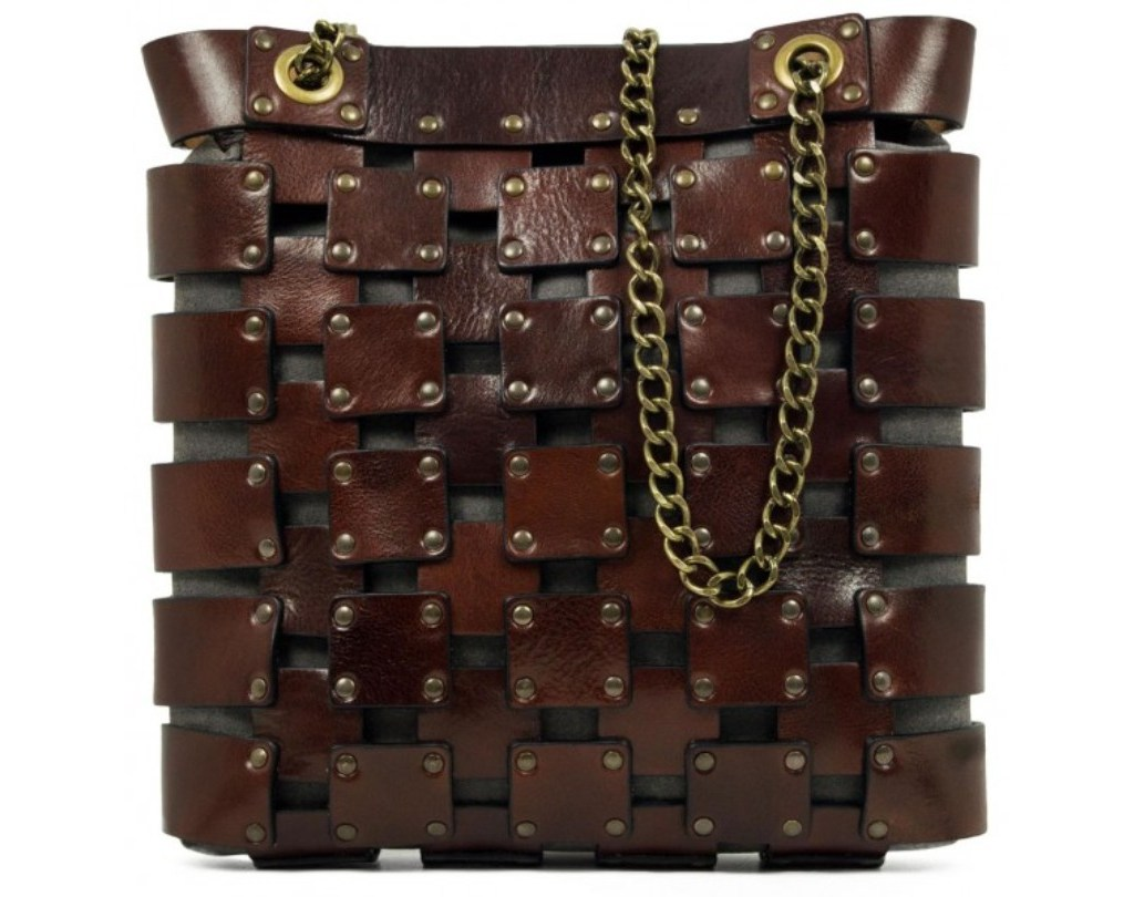 BROWN WOMEN'S LEATHER TOTE BAG - JEANNE D'ARC