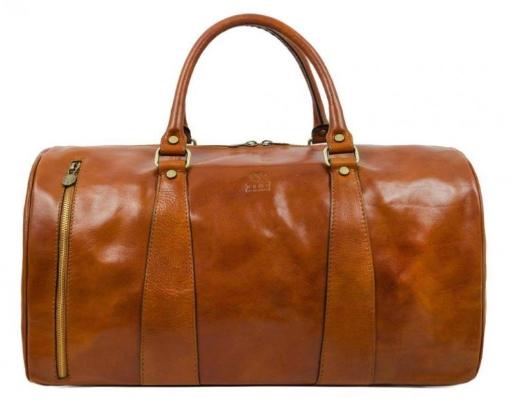 LIGHT BROWN LEATHER DUFFEL BAG - WISE CHILDREN