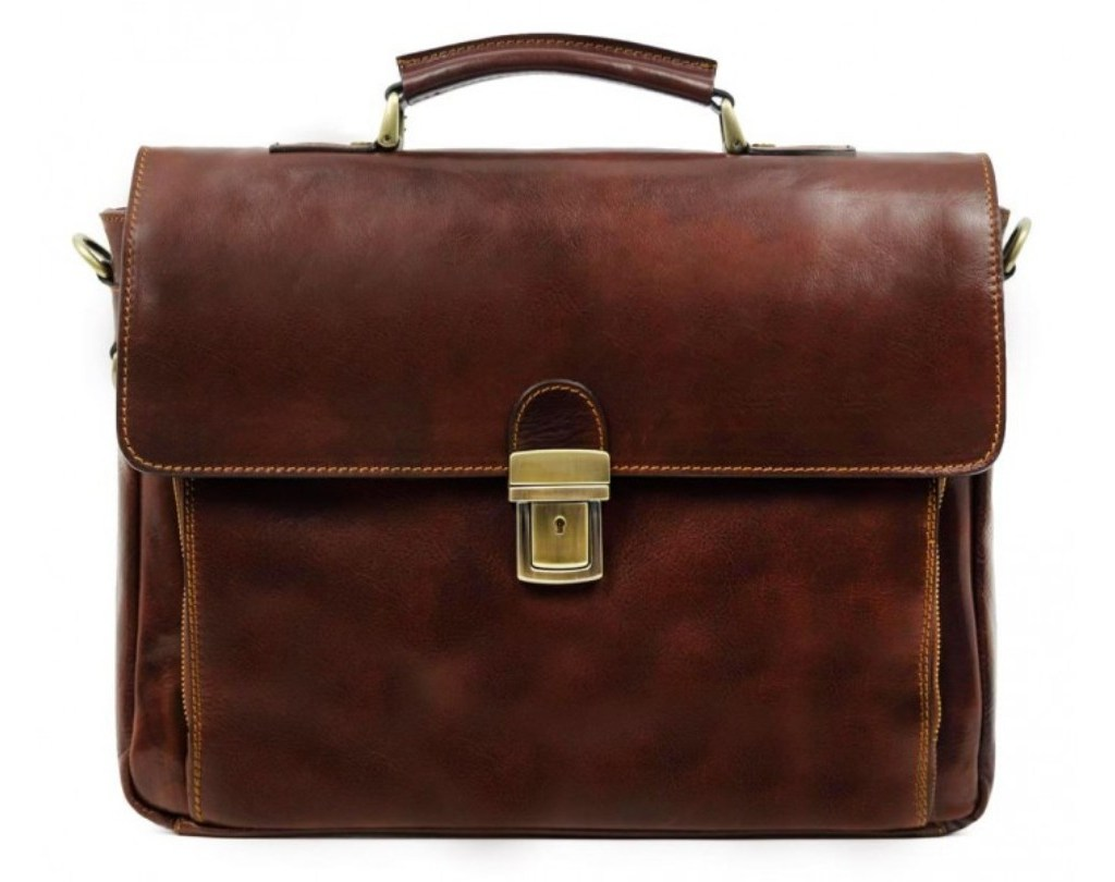 BROWN LEATHER BRIEFCASE LAPTOP BAG - IN COLD BLOOD