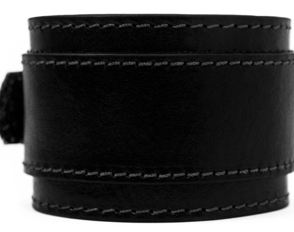 DOUBLE STRAP BLACK LEATHER BRACELET FOR MEN - THE MOVIEGOER