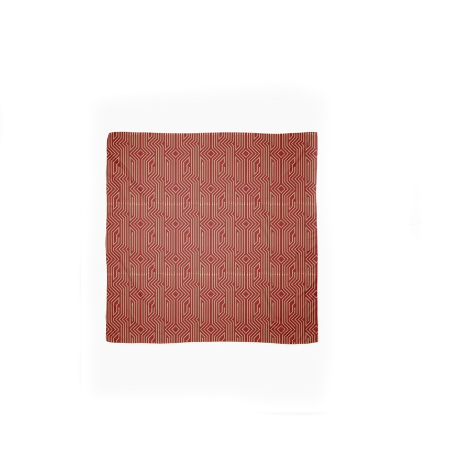 GOLDEN ART DECO PATTERN ON RED – Scarf