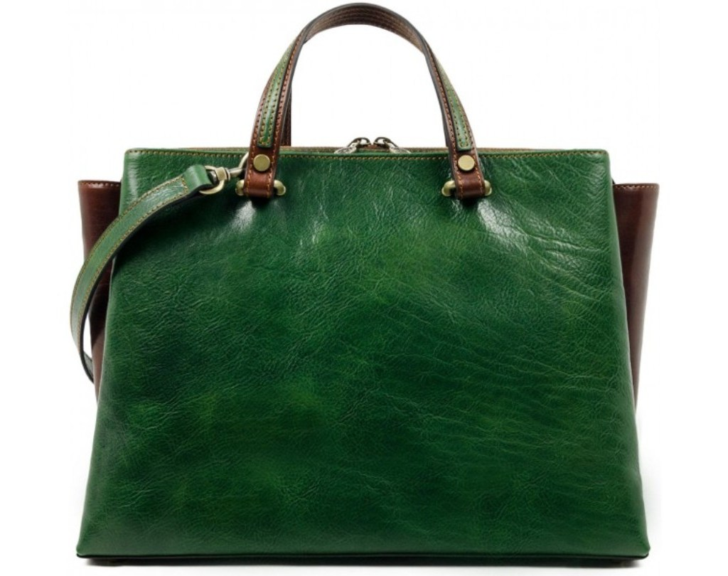 GREEN LEATHER TOTE BAG SHOULDER BAG FOR WOMEN – THE SCARLET LETTER