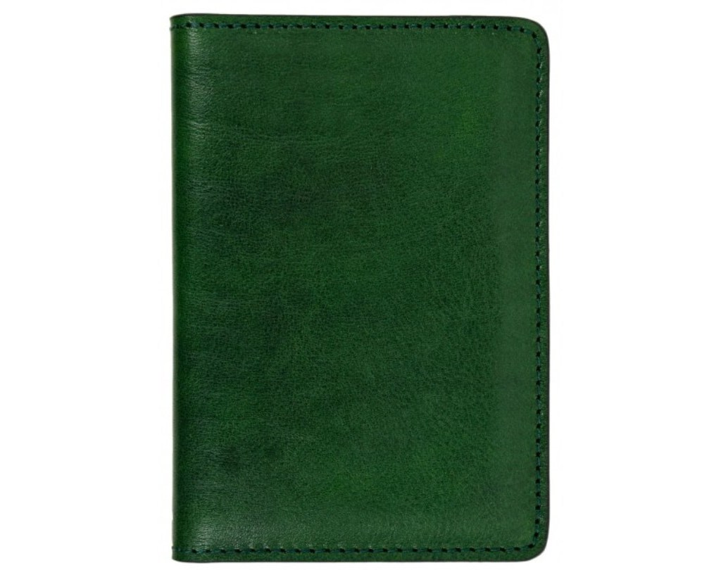 GREEN SMALL LEATHER PASSPORT HOLDER - GULLIVER'S TRAVELS