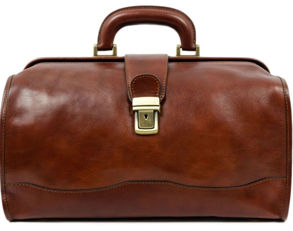 BROWN LEATHER SMALL DOCTOR BAG - DAVID COPPERFIELD