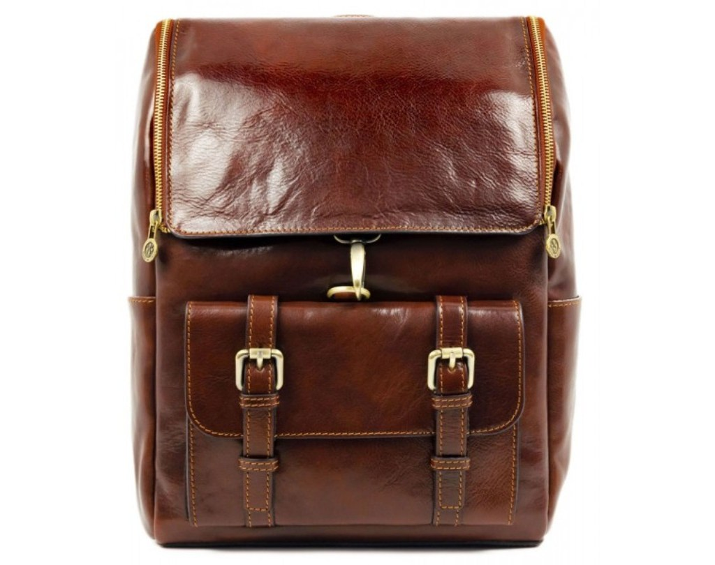 BROWN LARGE UNISEX LEATHER BACKPACK – THE ODYSSEY
