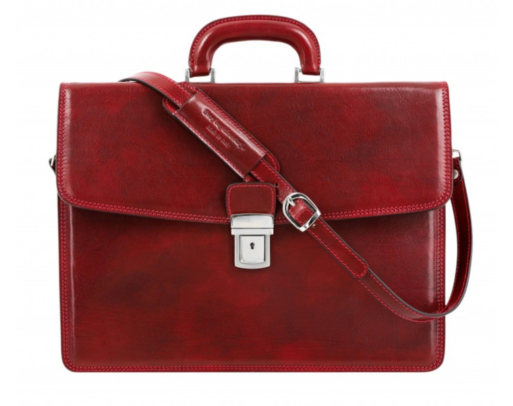 Red Leather Briefcase - The Sound of the Mountain by Time Resistance