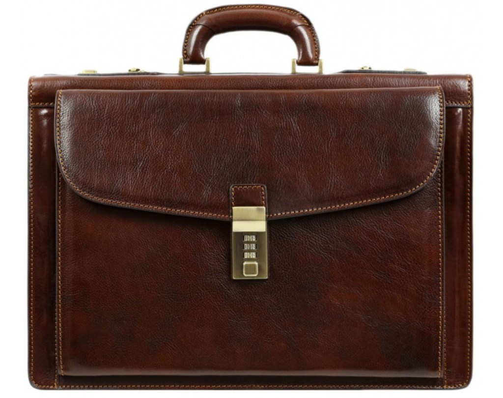 DARK BROWN CODE-LOCK LEATHER BRIEFCASE - THE WATCHMEN