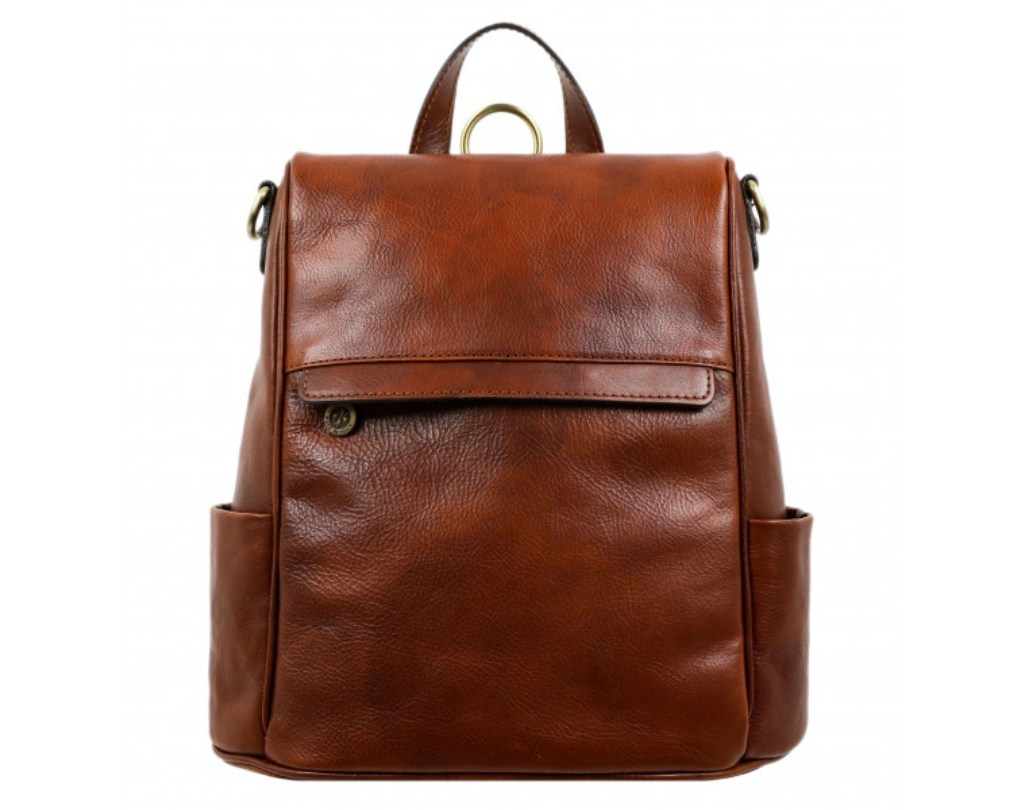 WOMEN'S BROWN LEATHER BACKPACK – THE WAVES