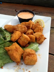 """Shark bites"" aka bread white fish with buffalo sauce at Pier 14"