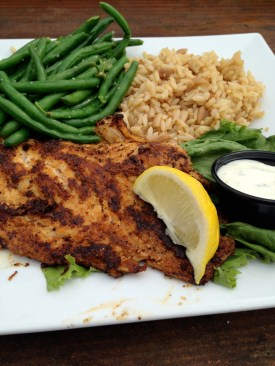 Blackened grouper with rice and green beans from Pier 14. My first time eating Grouper (I think), it's so delicious!