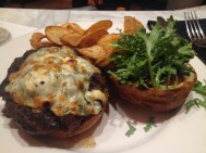 The most delicious burger at Bourbon House! With bacon, balsamic onion jam, bourbon-fig ketchup and arugula.